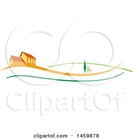 Clipart of an Orange House with Trees and Swooshes - Royalty Free Vector Illustration by Domenico Condello