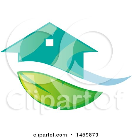 Clipart of a Turquoise House and Leaf Swoosh - Royalty Free Vector Illustration by Domenico Condello