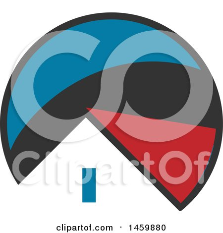 Clipart of a House Roof Top in a Gray, Blue and Red Circle - Royalty Free Vector Illustration by Domenico Condello