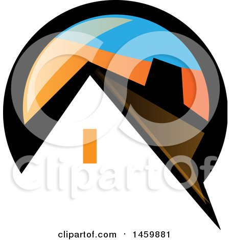 Clipart of a House in a Black Blue and Orange Circle - Royalty Free Vector Illustration by Domenico Condello