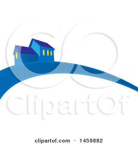 Clipart of a Blue House and Swoosh - Royalty Free Vector Illustration by Domenico Condello