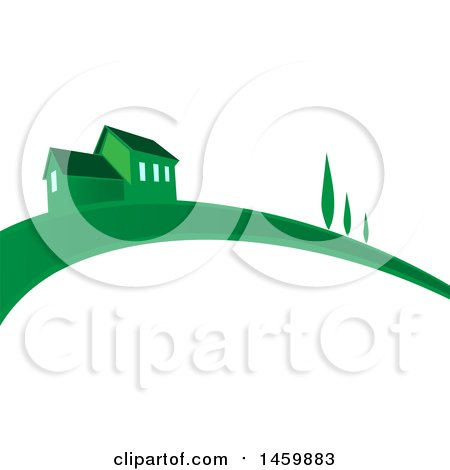 Clipart of a Green House and Swoosh - Royalty Free Vector Illustration by Domenico Condello