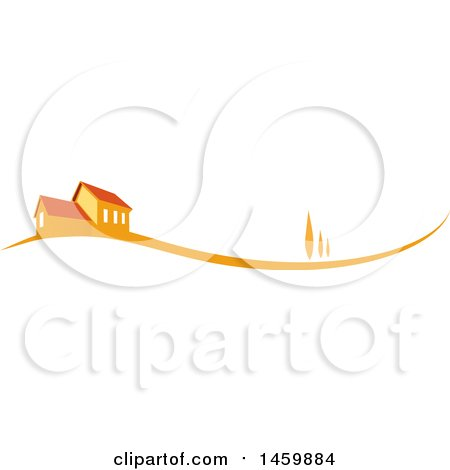 Clipart of an Orange House and Swoosh - Royalty Free Vector Illustration by Domenico Condello
