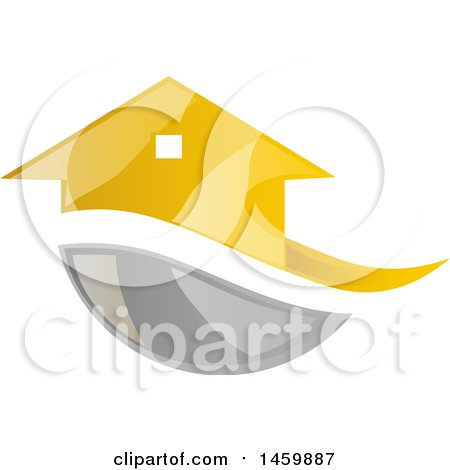 Clipart of a Golden House and Gray Swoosh - Royalty Free Vector Illustration by Domenico Condello