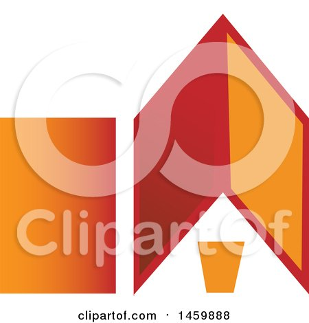 Clipart of a Gradient Red and Orange House - Royalty Free Vector Illustration by Domenico Condello