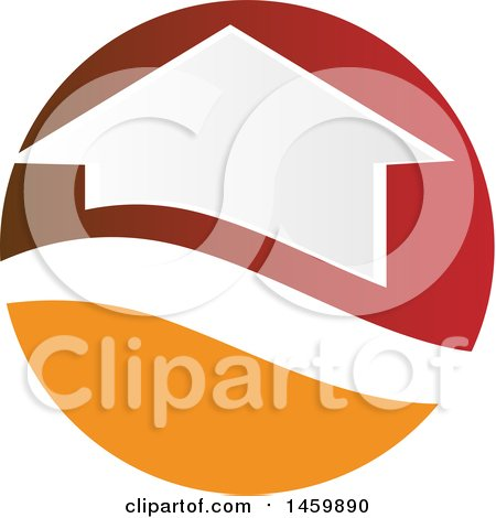 Clipart of a House in a Red and Orange Circle - Royalty Free Vector Illustration by Domenico Condello