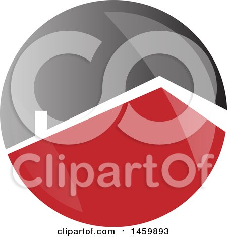 Clipart of a Red Roof Top of a House in a White and Gray Circle - Royalty Free Vector Illustration by Domenico Condello