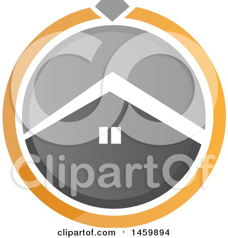 Clipart of a House in a Gray White and Orange Circle - Royalty Free Vector Illustration by Domenico Condello