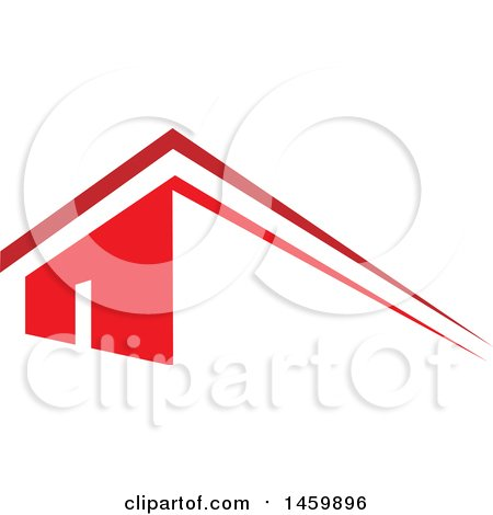 Clipart of a Red House and Roof Top - Royalty Free Vector Illustration by Domenico Condello