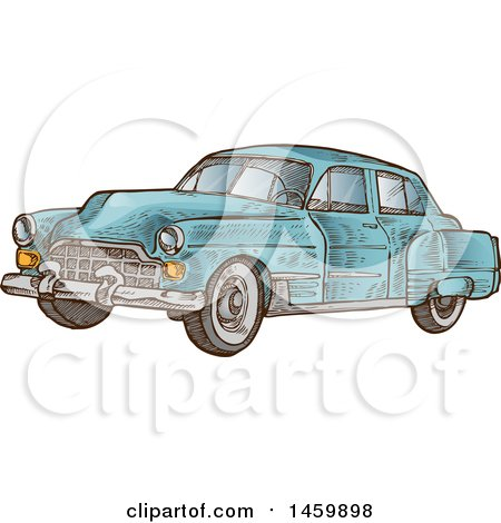 Clipart of a Sketched Blue Vintage Car - Royalty Free Vector Illustration by Domenico Condello