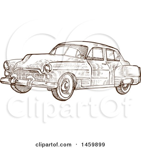 Clipart of a Sketched Brown and White Vintage Car - Royalty Free Vector Illustration by Domenico Condello