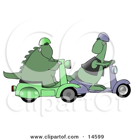 Green Dinosaur Wearing A Vest And Helmet And Riding A Scooter, Looking Back Over His Shoulder While Passing Another Scooter Riding Dino Clipart Illustration by djart