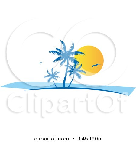 Clipart of a Tropical Palm Tree, Gull and Sunset Design - Royalty Free Vector Illustration by Domenico Condello