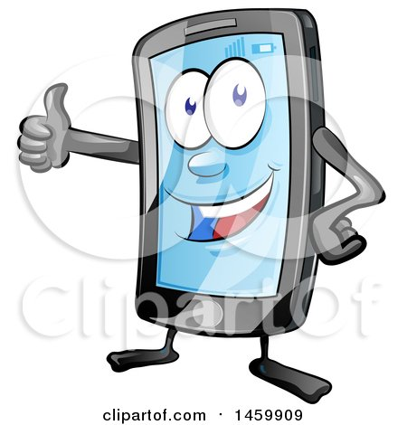 Clipart of a Cartoon Smart Phone Mascot Giving a Thumb up - Royalty Free Vector Illustration by Domenico Condello