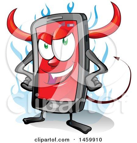 Clipart of a Cartoon Smart Phone Devil Mascot - Royalty Free Vector Illustration by Domenico Condello