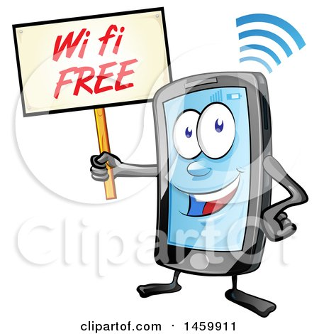 Clipart of a Cartoon Smart Phone Mascot Holding up a Free Wifi Sign - Royalty Free Vector Illustration by Domenico Condello