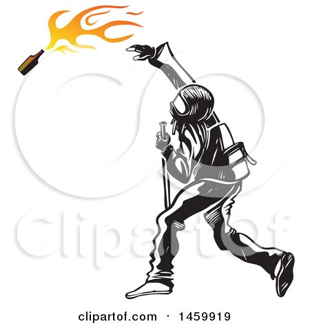 Clipart of a Black Bloc Rioter Throwing a Bomb - Royalty Free Vector Illustration by Domenico Condello