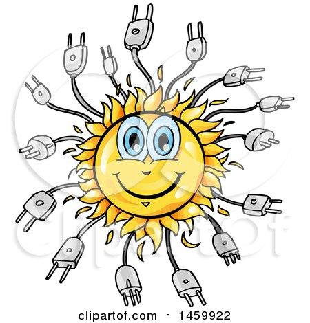 Clipart of a Cartoon Happy Sun and Plug Mascot - Royalty Free Vector Illustration by Domenico Condello