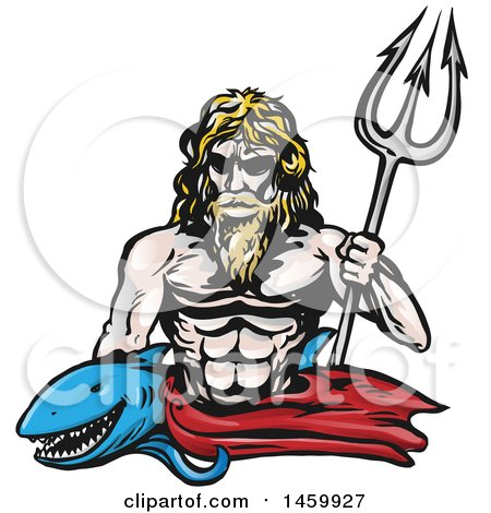 Clipart of a Shark and Poseidon with a Trident - Royalty Free Vector Illustration by Domenico Condello