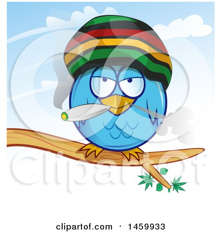 Clipart Of A Cartoon Jamaican Rasta Owl Smoking a Marijuana Joint - Royalty Free Vector Illustration by Domenico Condello