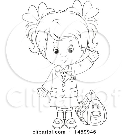 Clipart Of A Black And White School Girl Waving