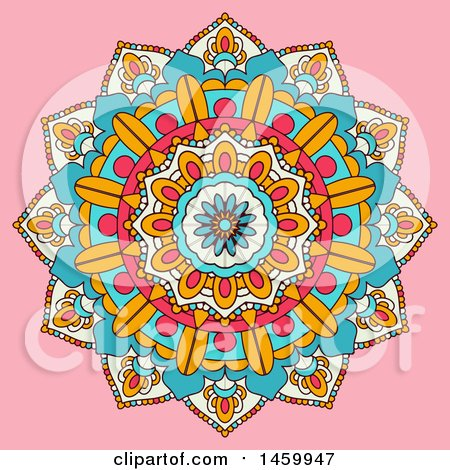 Clipart of a Colorful Mandala Design on Pink - Royalty Free Vector Illustration by KJ Pargeter