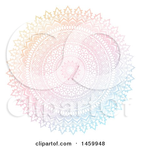 Clipart of a Gradient Colorful Mandala Design on White - Royalty Free Vector Illustration by KJ Pargeter