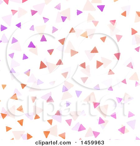 Clipart of a Background of Watercolor Painted Triangles on White - Royalty Free Vector Illustration by KJ Pargeter