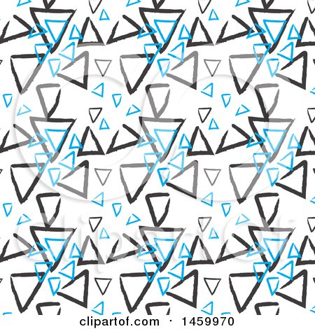 Clipart of a Background of Sketched Blue and Black Triangles on White - Royalty Free Vector Illustration by KJ Pargeter