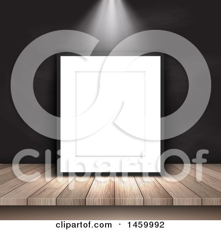 Clipart of a Light Shining on a 3d Blank Picture Frame - Royalty Free Vector Illustration by KJ Pargeter