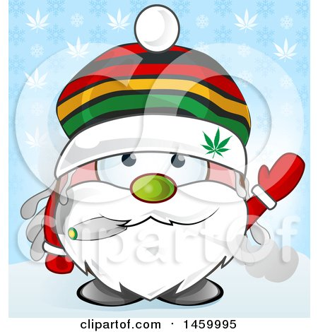Clipart of a Christmas Santa Claus Waving and Smoking a Doobie over a Snowflake and Cannabis Leaf Pattern - Royalty Free Vector Illustration by Domenico Condello