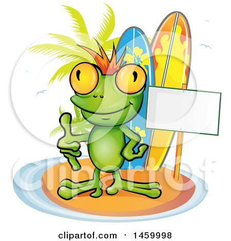 Clipart of a Frog Giving a Thumb up by a Blank Sign and Surfboards on an Island - Royalty Free Vector Illustration by Domenico Condello