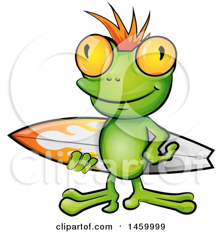 Clipart of a Surfer Frog Carrying a Board - Royalty Free Vector Illustration by Domenico Condello