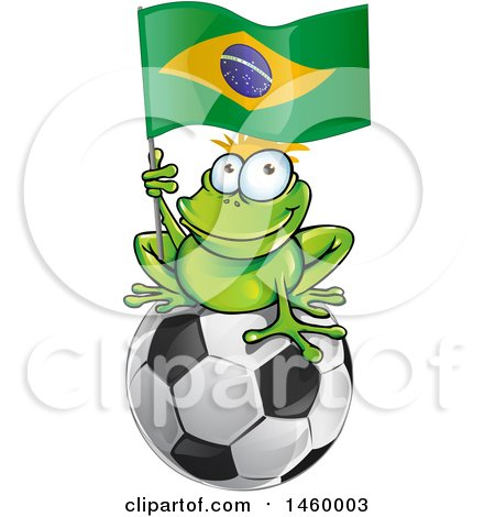 Clipart of a Frog Holding a Brazilian Flag on Top of a Soccer Ball - Royalty Free Vector Illustration by Domenico Condello
