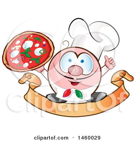 Clipart of a Cartoon Italian Chef Holding a Pizza and Thumb up on a Banner - Royalty Free Vector Illustration by Domenico Condello
