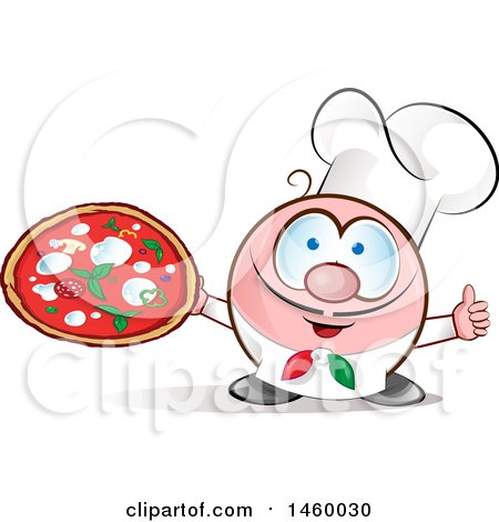 Clipart of a Cartoon Italian Chef Holding a Pizza and Thumb up - Royalty Free Vector Illustration by Domenico Condello