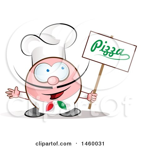 Clipart of a Cartoon Italian Chef Holding a Pizza Sign - Royalty Free Vector Illustration by Domenico Condello