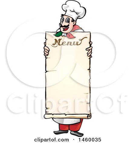 Clipart of a Cartoon Italian Chef Holding a Menu Board - Royalty Free Vector Illustration by Domenico Condello