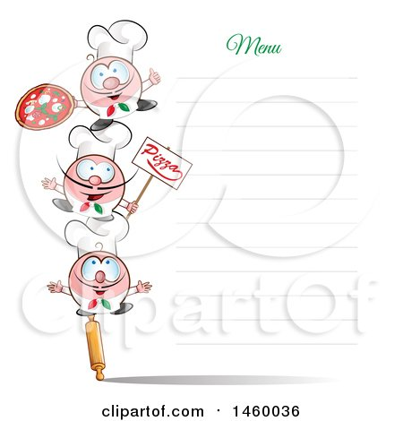 Clipart of a Tower of Italian Chefs on a Blank Menu Board - Royalty Free Vector Illustration by Domenico Condello
