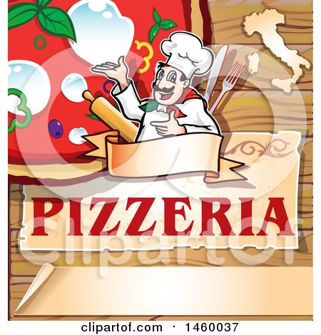 Clipart of a Cartoon Italian Chef Presenting a Pizza over Pizzeria Text on Wood - Royalty Free Vector Illustration by Domenico Condello