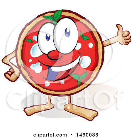 Clipart of a Cartoon Happy Pizza Mascot Giving a Thumb up - Royalty Free Vector Illustration by Domenico Condello