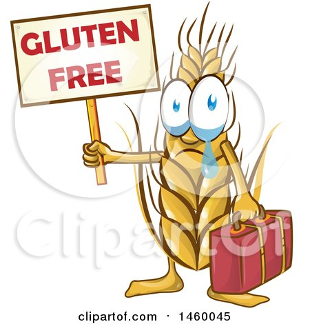 Clipart of a Crying Wheat Mascot Holding a Gluten Free Sign - Royalty Free Vector Illustration by Domenico Condello