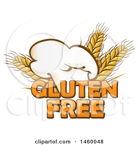 Clipart of a Toque Chef Hat and Gluten Free Text with Wheat - Royalty Free Vector Illustration by Domenico Condello