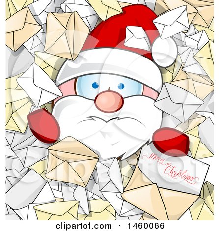 Clipart of a Santa Claus Buried in Letters with Merry Christmas Text - Royalty Free Vector Illustration by Domenico Condello