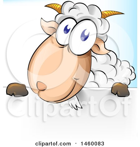 Clipart of a Cartoon Happy Sheep over a Sign - Royalty Free Vector Illustration by Domenico Condello