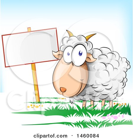 Clipart of a Cartoon Happy Sheep by a Blank Sign - Royalty Free Vector Illustration by Domenico Condello