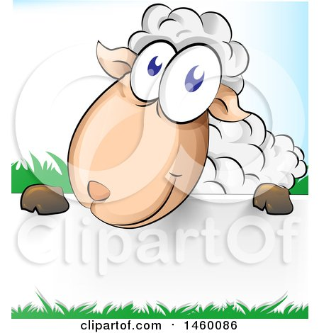 Clipart of a Cartoon Happy Sheep with Grass over a Sign - Royalty Free Vector Illustration by Domenico Condello
