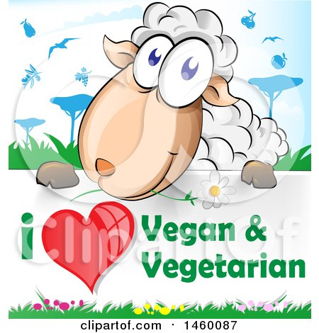 Clipart of a Cartoon Happy Sheep over an I Love Vegan and Vegetarian Sign - Royalty Free Vector Illustration by Domenico Condello