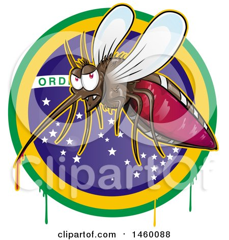 Clipart of a Cartoon Evil Mosquito with Blood Dripping over a Brazilian Circle - Royalty Free Vector Illustration by Domenico Condello