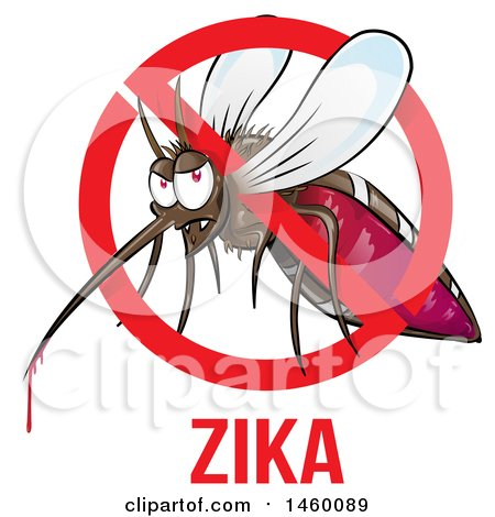 Clipart of a Cartoon Evil Mosquito with Blood Dripping in a Prohibited Symbol over Zika Text - Royalty Free Vector Illustration by Domenico Condello